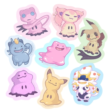 Ditto and Mimikyu copying cat Pokemon - and each other.