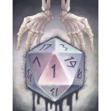 Skeletal hands holding a d20 die showing the number 1.